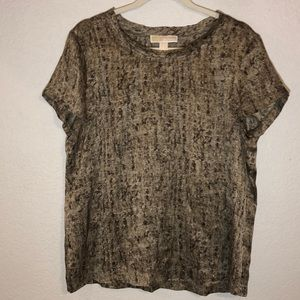 Michael Kors brown 100% silk short sleeve blouse
